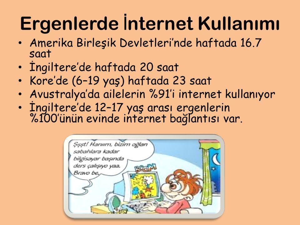 Ergenlerde İ nternet Kullanımı Amerika Birleşik Devletleri'nde haftada 16.7 saat İngiltere'de haftada 20 saat Kore'de (6–19 yaş) haftada 23 saat Avustralya'da ailelerin %91'i internet kullanıyor İngiltere'de 12–17 yaş arası ergenlerin %100'ünün evinde internet bağlantısı var.