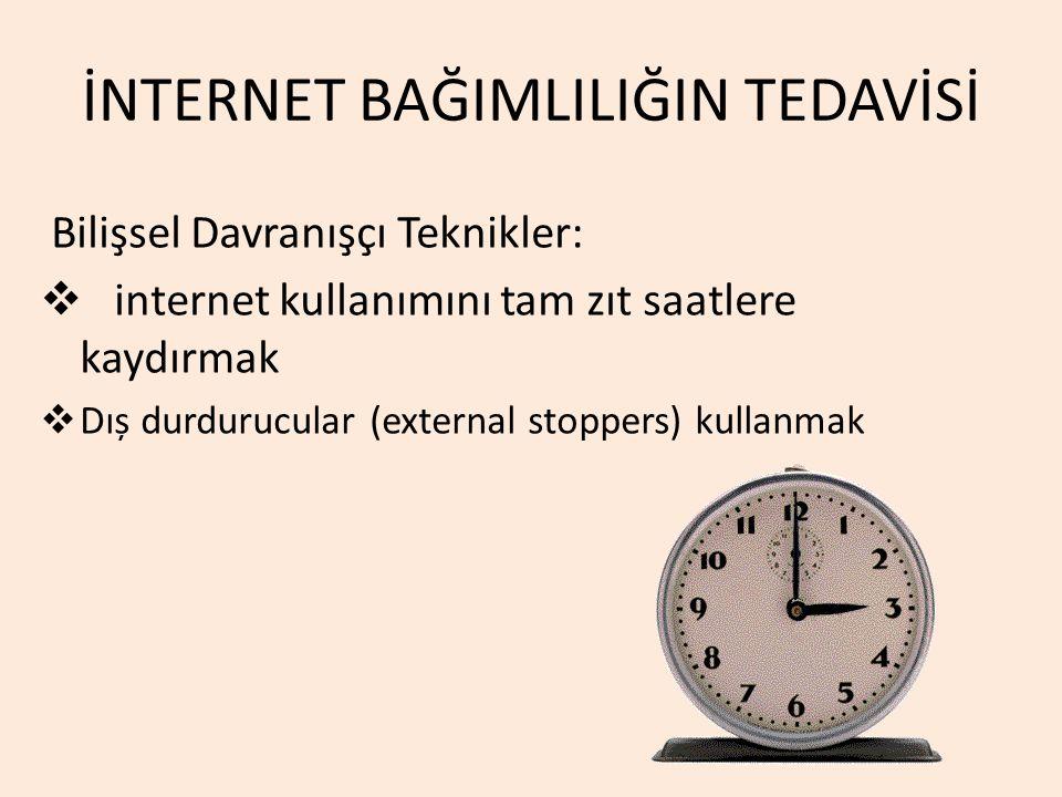 İNTERNET BAĞIMLILIĞIN TEDAVİSİ Bilişsel Davranışçı Teknikler:  internet kullanımını tam zıt saatlere kaydırmak  Dıș durdurucular (external stoppers)