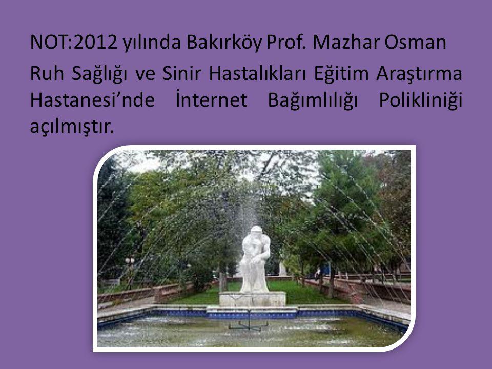 NOT:2012 yılında Bakırköy Prof. Mazhar Osman Ruh Sağlığı ve Sinir Hastalıkları Eğitim Araştırma Hastanesi'nde İnternet Bağımlılığı Polikliniği açılmış