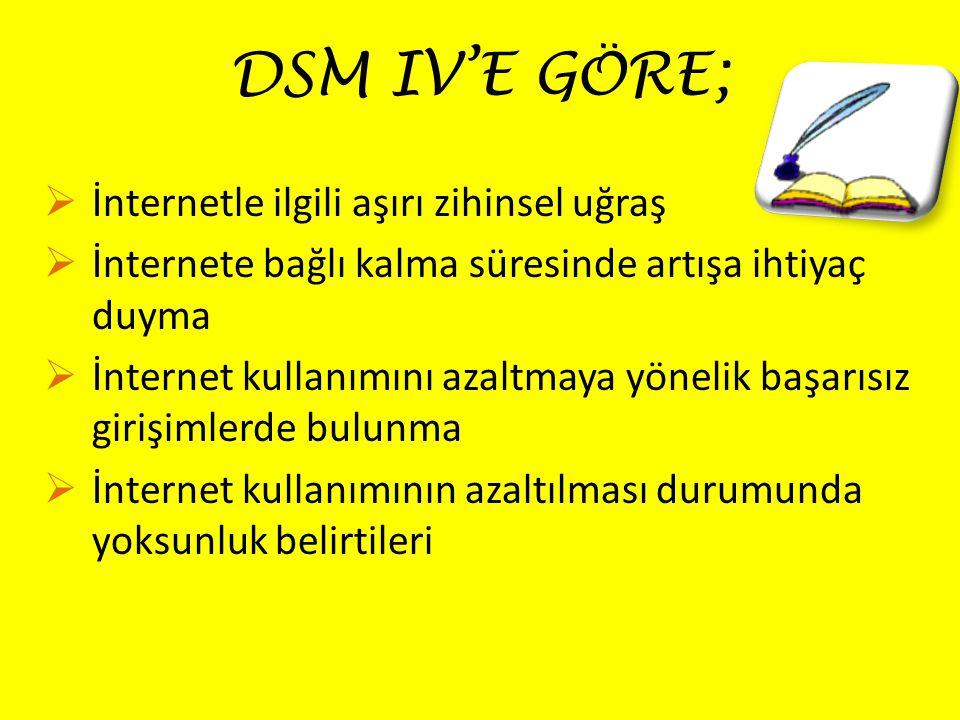 DSM IV'E GÖRE;  İnternetle ilgili aşırı zihinsel uğraş  İnternete bağlı kalma süresinde artışa ihtiyaç duyma  İnternet kullanımını azaltmaya yönelik başarısız girişimlerde bulunma  İnternet kullanımının azaltılması durumunda yoksunluk belirtileri