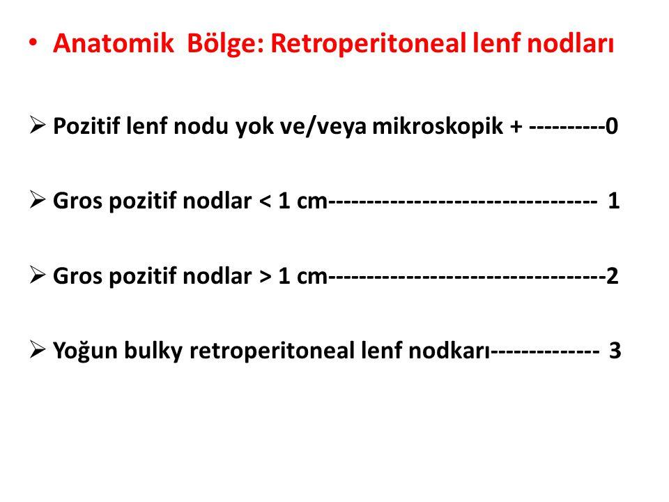 Anatomik Bölge: Retroperitoneal lenf nodları  Pozitif lenf nodu yok ve/veya mikroskopik + ----------0  Gros pozitif nodlar < 1 cm-------------------