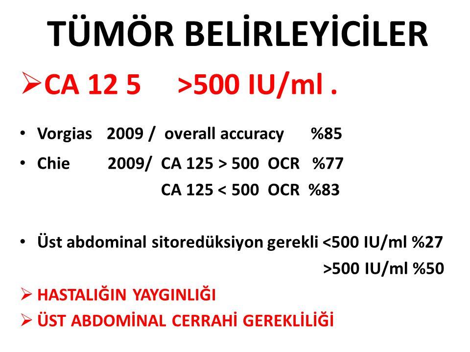 TÜMÖR BELİRLEYİCİLER  CA 12 5 >500 IU/ml. Vorgias 2009 / overall accuracy %85 Chie 2009/ CA 125 > 500 OCR %77 CA 125 < 500 OCR %83 Üst abdominal sito