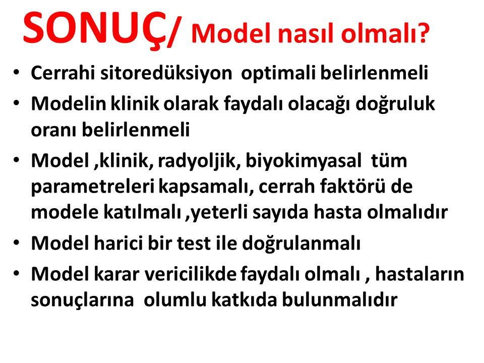 SONUÇ / Model nasıl olmalı? Cerrahi sitoredüksiyon optimali belirlenmeli Modelin klinik olarak faydalı olacağı doğruluk oranı belirlenmeli Model,klini