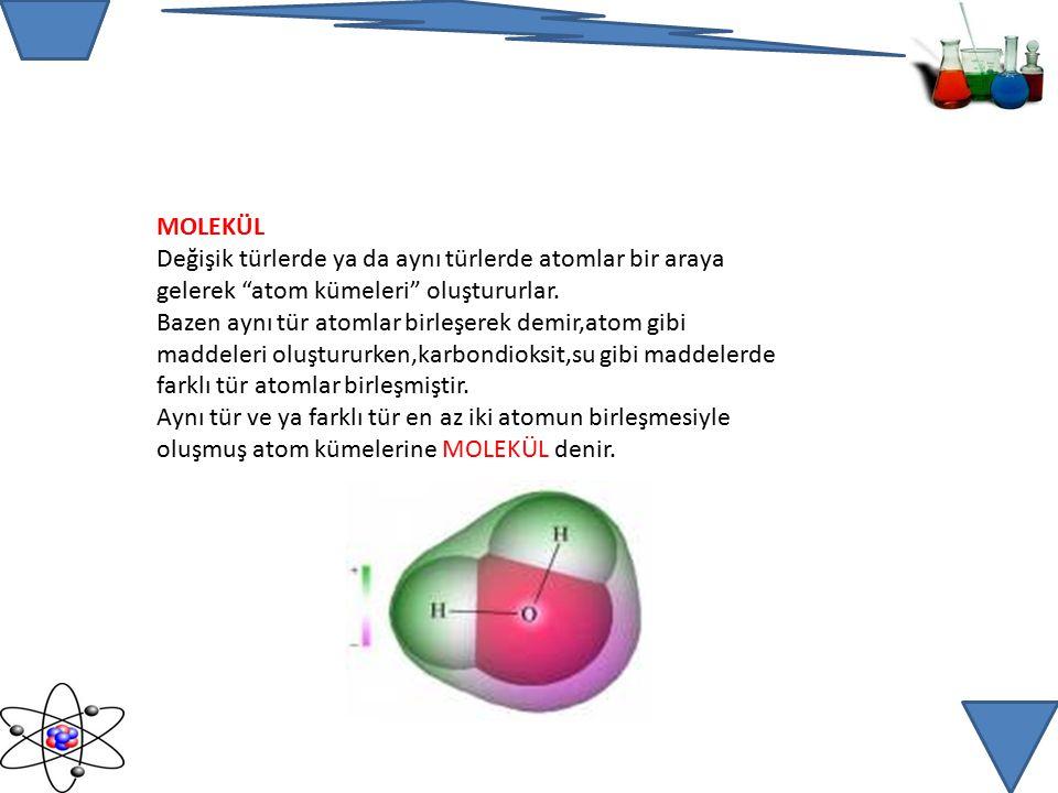 MOLEKÜL Değişik türlerde ya da aynı türlerde atomlar bir araya gelerek atom kümeleri oluştururlar.