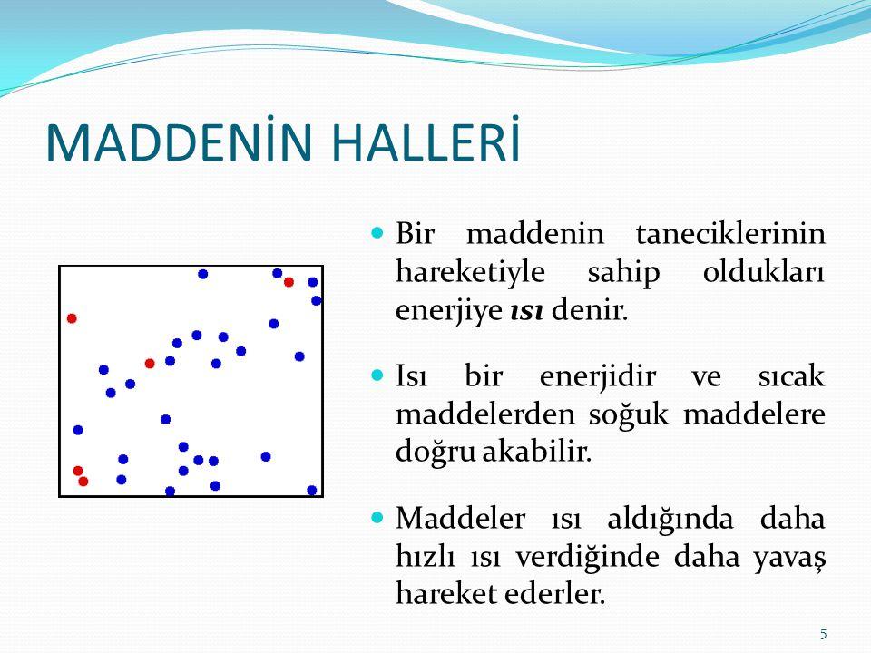 MADDENİN HALLERİ 5 Bir maddenin taneciklerinin hareketiyle sahip oldukları enerjiye ısı denir. Isı bir enerjidir ve sıcak maddelerden soğuk maddelere
