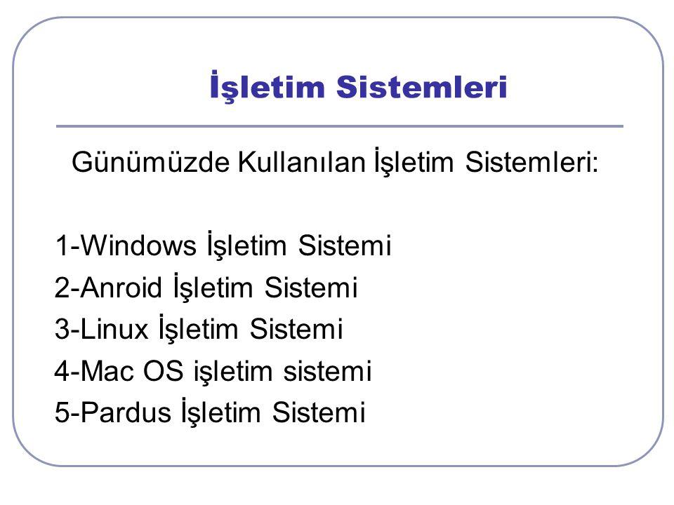 İşletim Sistemleri Günümüzde Kullanılan İşletim Sistemleri: 1-Windows İşletim Sistemi 2-Anroid İşletim Sistemi 3-Linux İşletim Sistemi 4-Mac OS işletim sistemi 5-Pardus İşletim Sistemi
