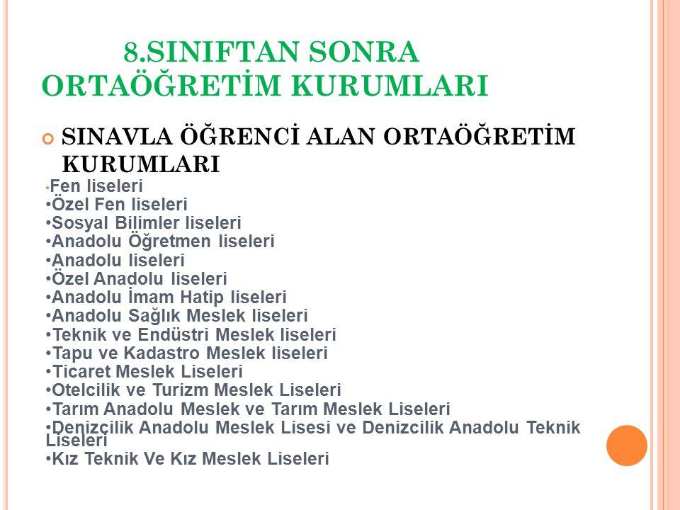 8.SINIFTAN SONRA ORTAÖĞRETİM KURUMLARI SINAVLA ÖĞRENCİ ALAN ORTAÖĞRETİM KURUMLARI Fen liseleri Özel Fen liseleri Sosyal Bilimler liseleri Anadolu Öğre
