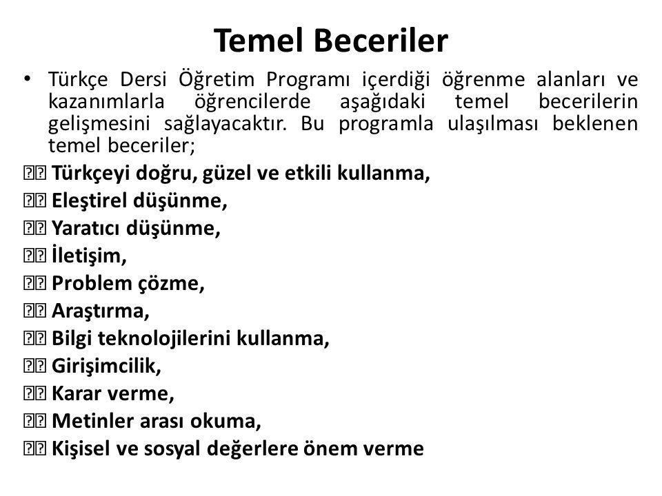 Temel Beceriler Türkçe Dersi Öğretim Programı içerdiği öğrenme alanları ve kazanımlarla öğrencilerde aşağıdaki temel becerilerin gelişmesini sağlayaca
