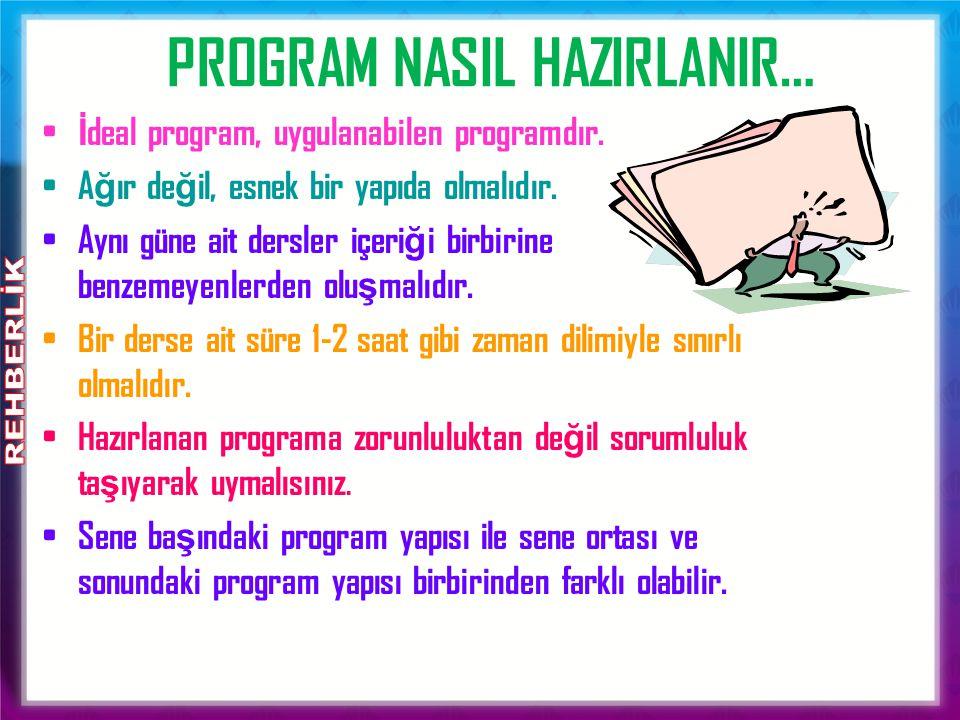 İ deal program, uygulanabilen programdır. A ğ ır de ğ il, esnek bir yapıda olmalıdır.