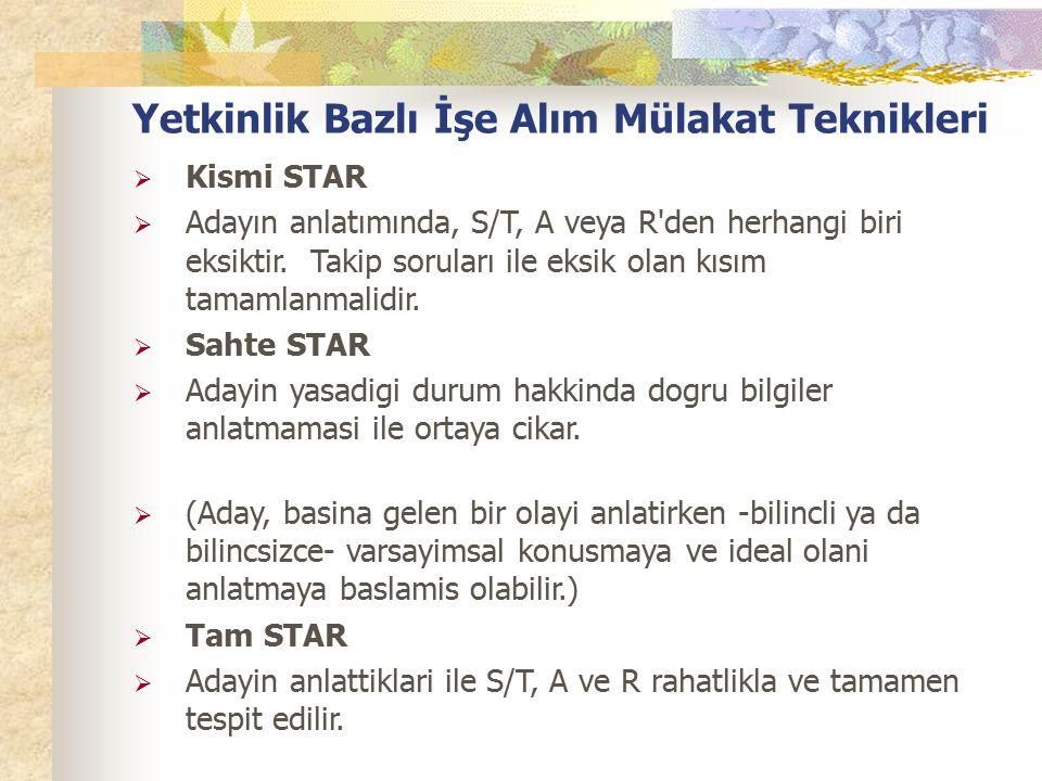 Yetkinlik Bazlı İşe Alım Mülakat Teknikleri  Kismi STAR  Adayın anlatımında, S/T, A veya R den herhangi biri eksiktir.
