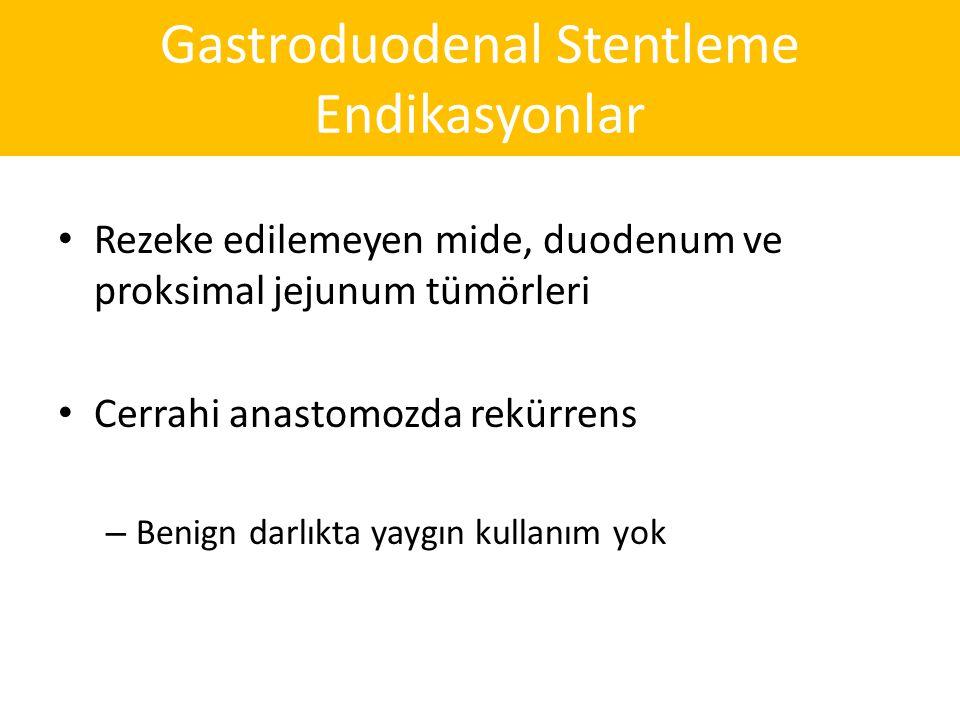 Gastroduodenal Stentleme Endikasyonlar Rezeke edilemeyen mide, duodenum ve proksimal jejunum tümörleri Cerrahi anastomozda rekürrens – Benign darlıkta yaygın kullanım yok