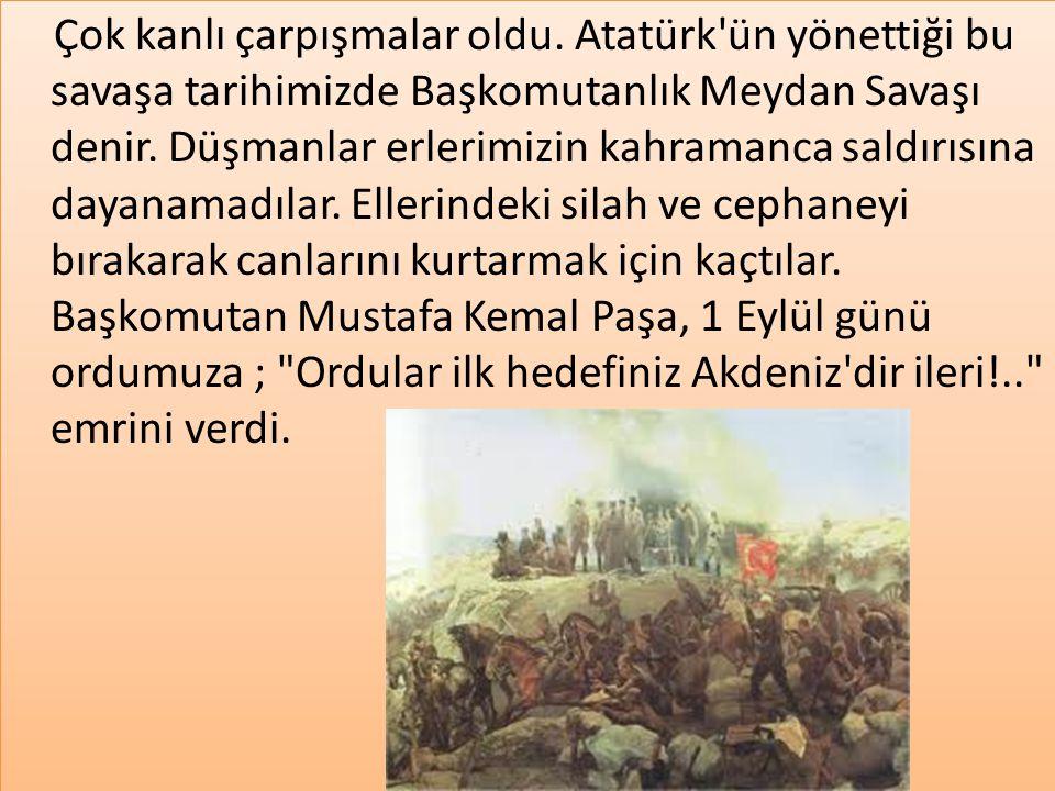 Çok kanlı çarpışmalar oldu. Atatürk'ün yönettiği bu savaşa tarihimizde Başkomutanlık Meydan Savaşı denir. Düşmanlar erlerimizin kahramanca saldırısına