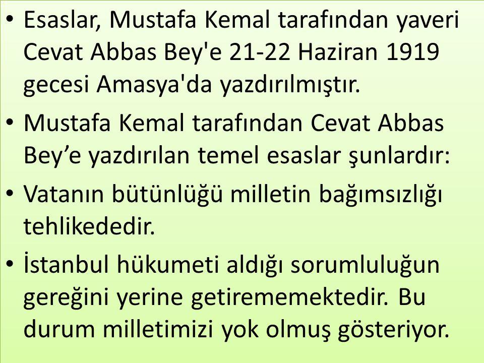 Esaslar, Mustafa Kemal tarafından yaveri Cevat Abbas Bey'e 21-22 Haziran 1919 gecesi Amasya'da yazdırılmıştır. Mustafa Kemal tarafından Cevat Abbas Be