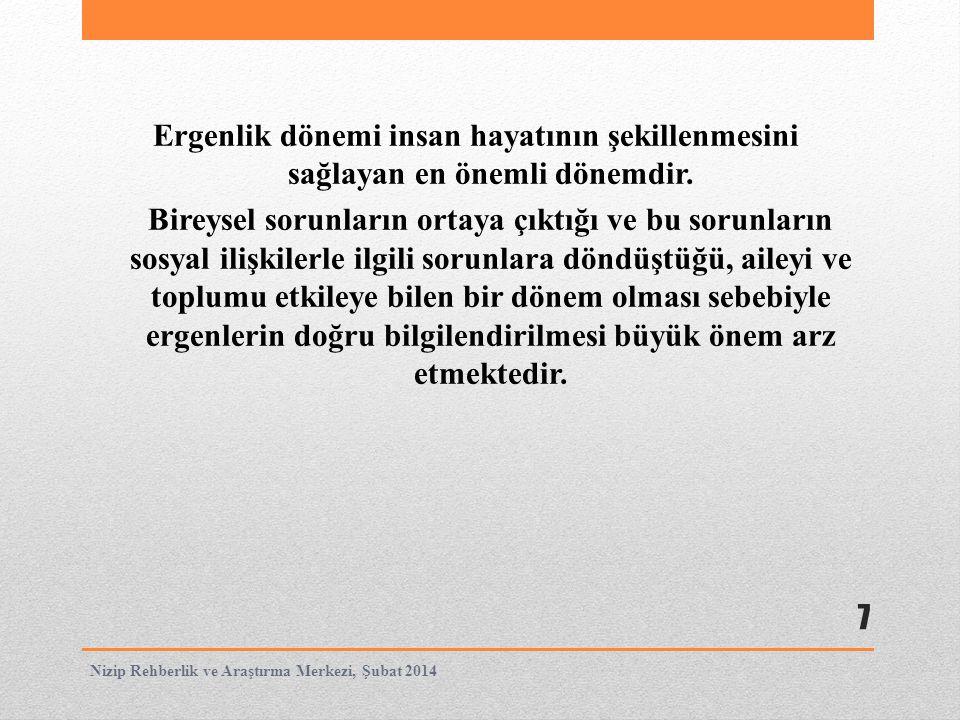 Cinsel özelliklerde belirginleşme ve üreme 18 Nizip Rehberlik ve Araştırma Merkezi, Şubat 2014