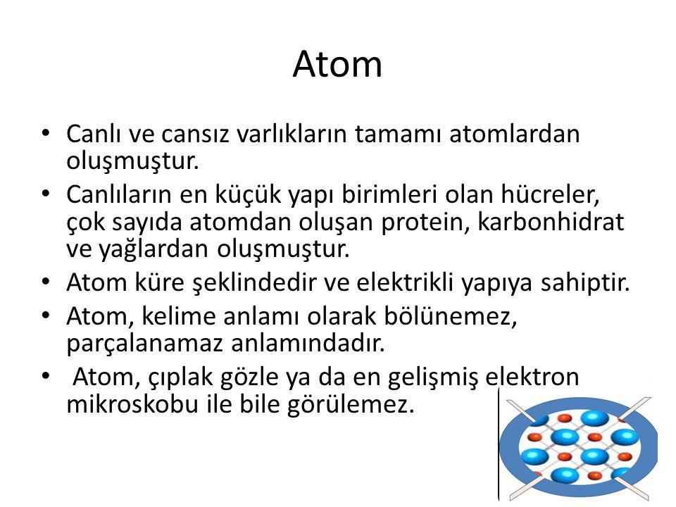 Canlı ve cansız varlıkların tamamı atomlardan oluşmuştur. Canlıların en küçük yapı birimleri olan hücreler, çok sayıda atomdan oluşan protein, karbonh