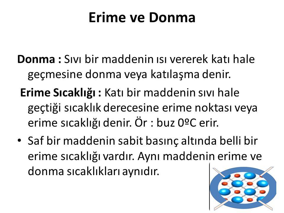 Erime ve Donma Donma : Sıvı bir maddenin ısı vererek katı hale geçmesine donma veya katılaşma denir. Erime Sıcaklığı : Katı bir maddenin sıvı hale geç