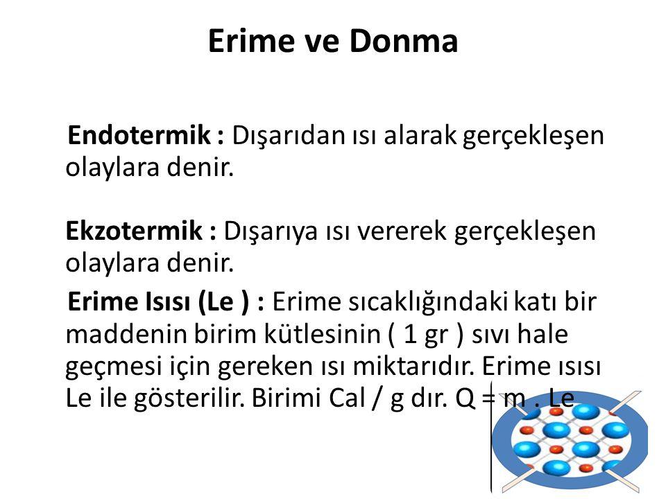 Erime ve Donma Endotermik : Dışarıdan ısı alarak gerçekleşen olaylara denir. Ekzotermik : Dışarıya ısı vererek gerçekleşen olaylara denir. Erime Isısı