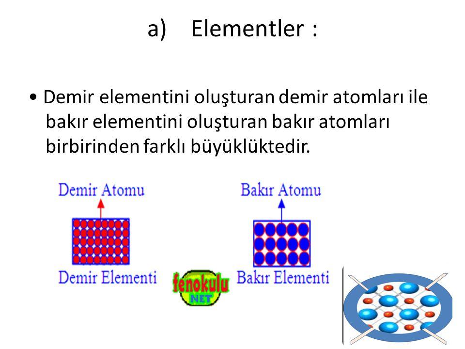 Demir elementini oluşturan demir atomları ile bakır elementini oluşturan bakır atomları birbirinden farklı büyüklüktedir. a) Elementler :