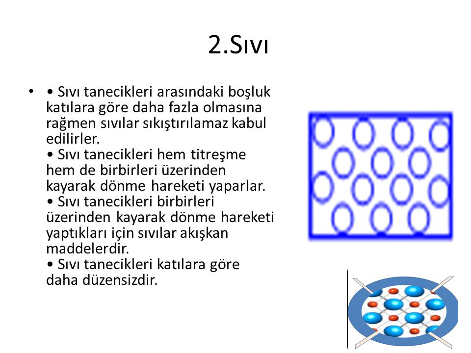 Sıvı tanecikleri arasındaki boşluk katılara göre daha fazla olmasına rağmen sıvılar sıkıştırılamaz kabul edilirler. Sıvı tanecikleri hem titreşme hem