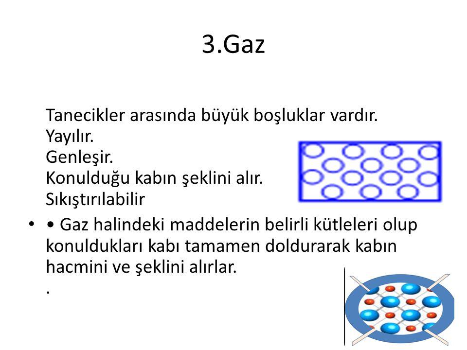 3.Gaz Tanecikler arasında büyük boşluklar vardır. Yayılır. Genleşir. Konulduğu kabın şeklini alır. Sıkıştırılabilir Gaz halindeki maddelerin belirli k