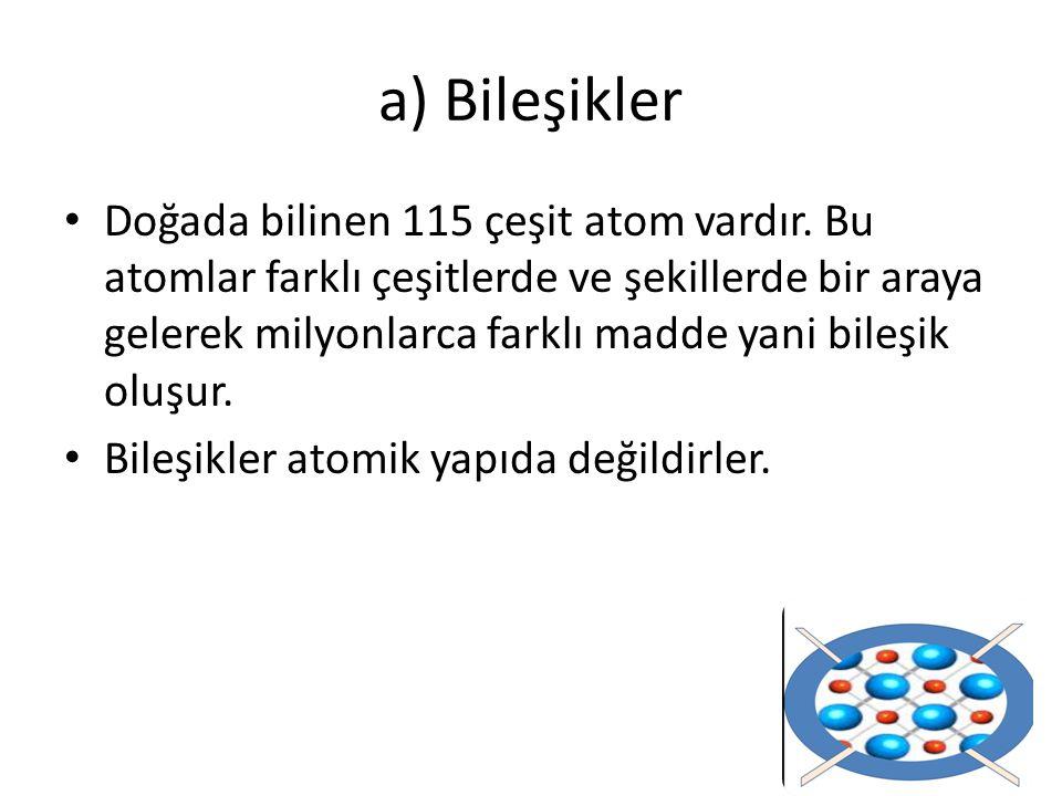 Doğada bilinen 115 çeşit atom vardır.