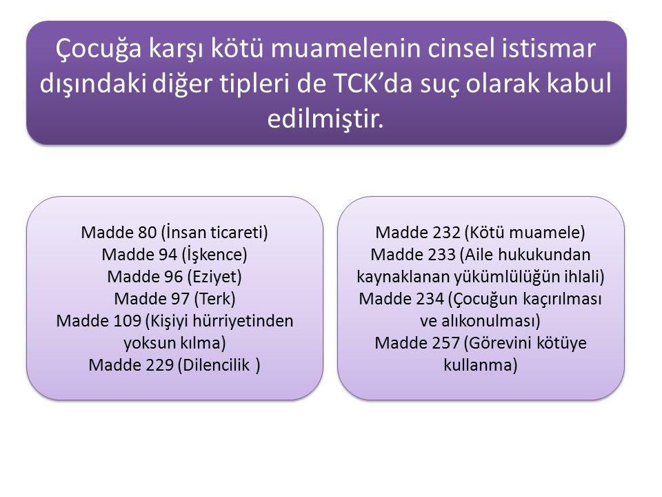 Çocuğa karşı kötü muamelenin cinsel istismar dışındaki diğer tipleri de TCK'da suç olarak kabul edilmiştir. Madde 80 (İnsan ticareti) Madde 94 (İşkenc
