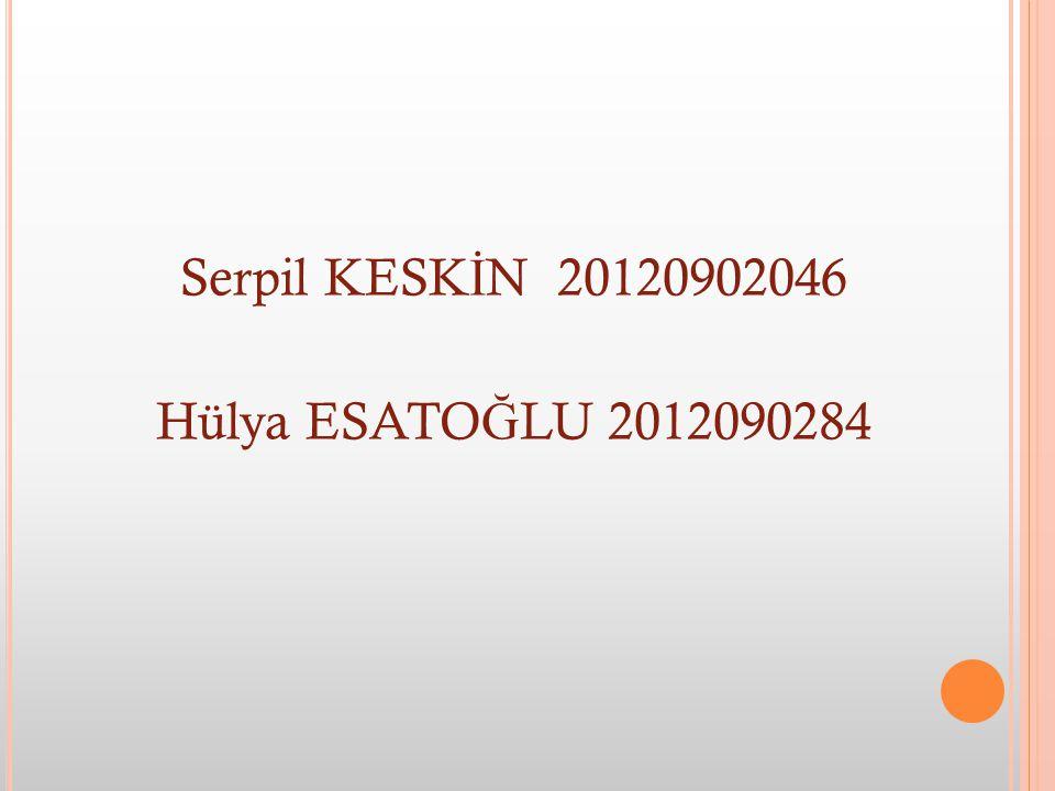 Serpil KESK İ N 20120902046 Hülya ESATO Ğ LU 2012090284