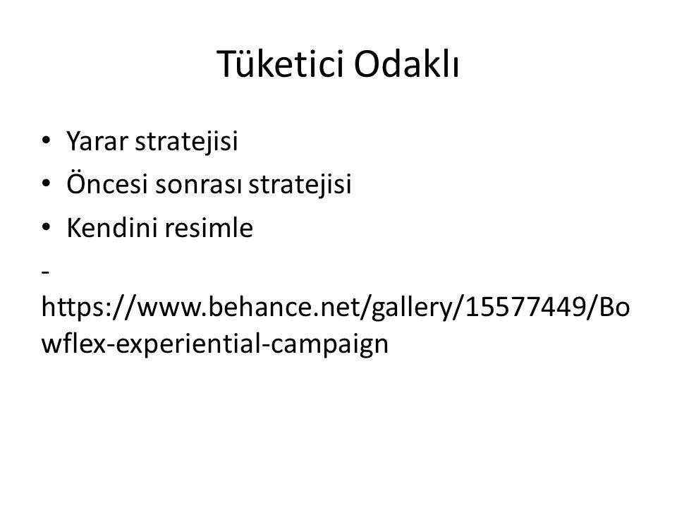 Tüketici Odaklı Yarar stratejisi Öncesi sonrası stratejisi Kendini resimle - https://www.behance.net/gallery/15577449/Bo wflex-experiential-campaign