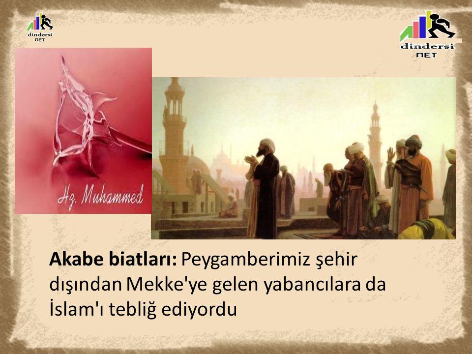Akabe biatları: Peygamberimiz şehir dışından Mekke ye gelen yabancılara da İslam ı tebliğ ediyordu