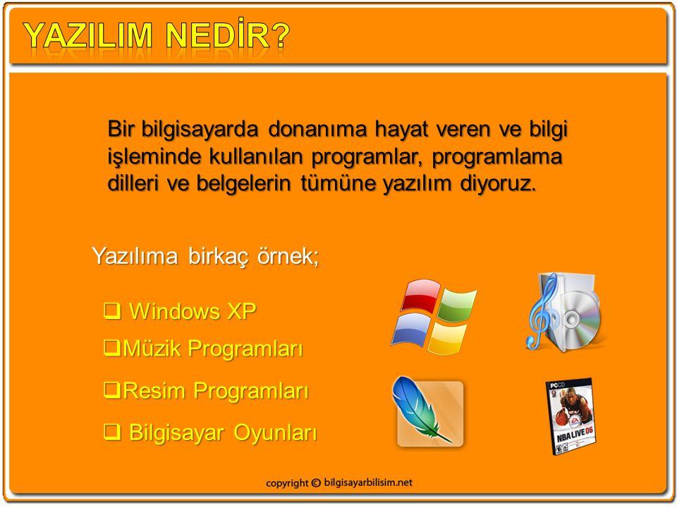 Bir bilgisayarda donanıma hayat veren ve bilgi işleminde kullanılan programlar, programlama dilleri ve belgelerin tümüne yazılım diyoruz. Yazılıma bir