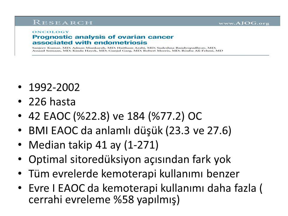 1992-2002 226 hasta 42 EAOC (%22.8) ve 184 (%77.2) OC BMI EAOC da anlamlı düşük (23.3 ve 27.6) Median takip 41 ay (1-271) Optimal sitoredüksiyon açısından fark yok Tüm evrelerde kemoterapi kullanımı benzer Evre I EAOC da kemoterapi kullanımı daha fazla ( cerrahi evreleme %58 yapılmış)