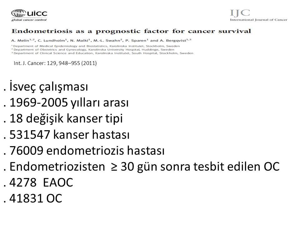Int.J. Cancer: 129, 948–955 (2011). İsveç çalışması.