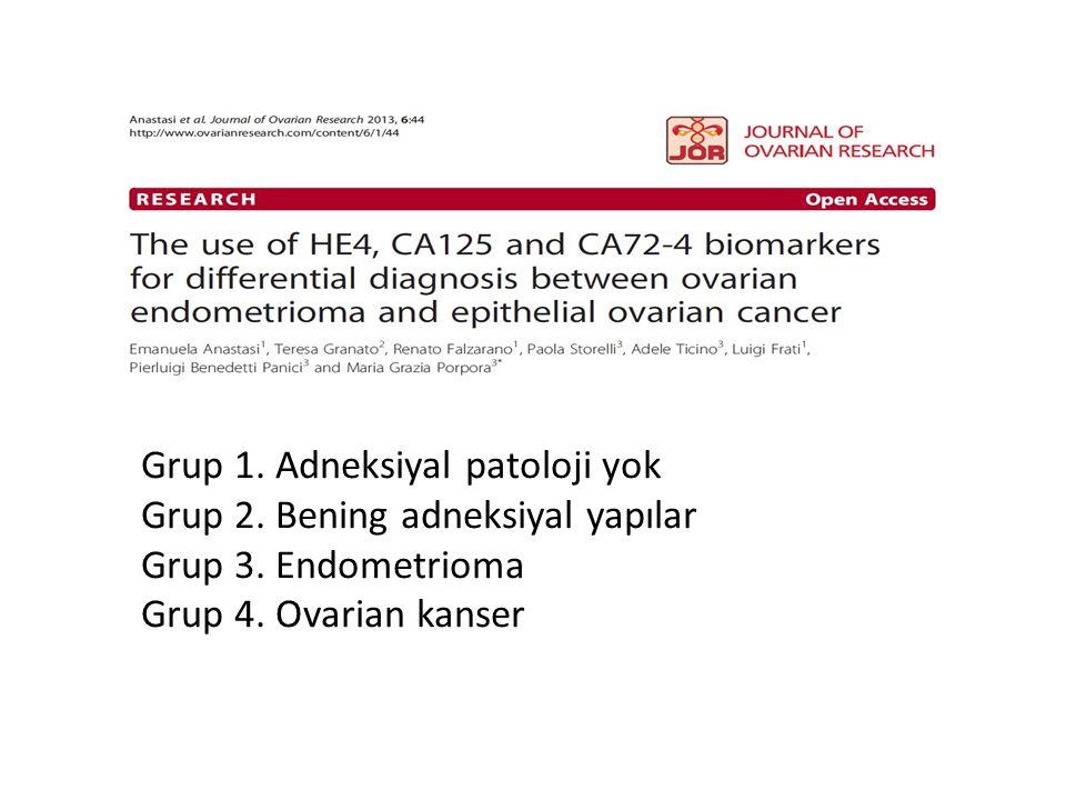 Grup 1.Adneksiyal patoloji yok Grup 2. Bening adneksiyal yapılar Grup 3.
