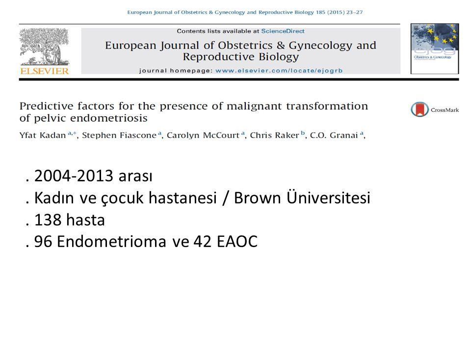 2004-2013 arası.Kadın ve çocuk hastanesi / Brown Üniversitesi.