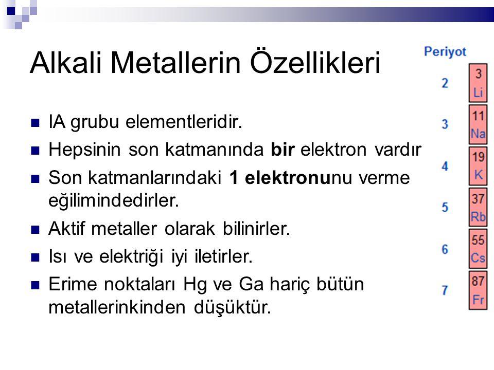 Alkali Metallerin Özellikleri IA grubu elementleridir. Hepsinin son katmanında bir elektron vardır. Son katmanlarındaki 1 elektronunu verme eğiliminde