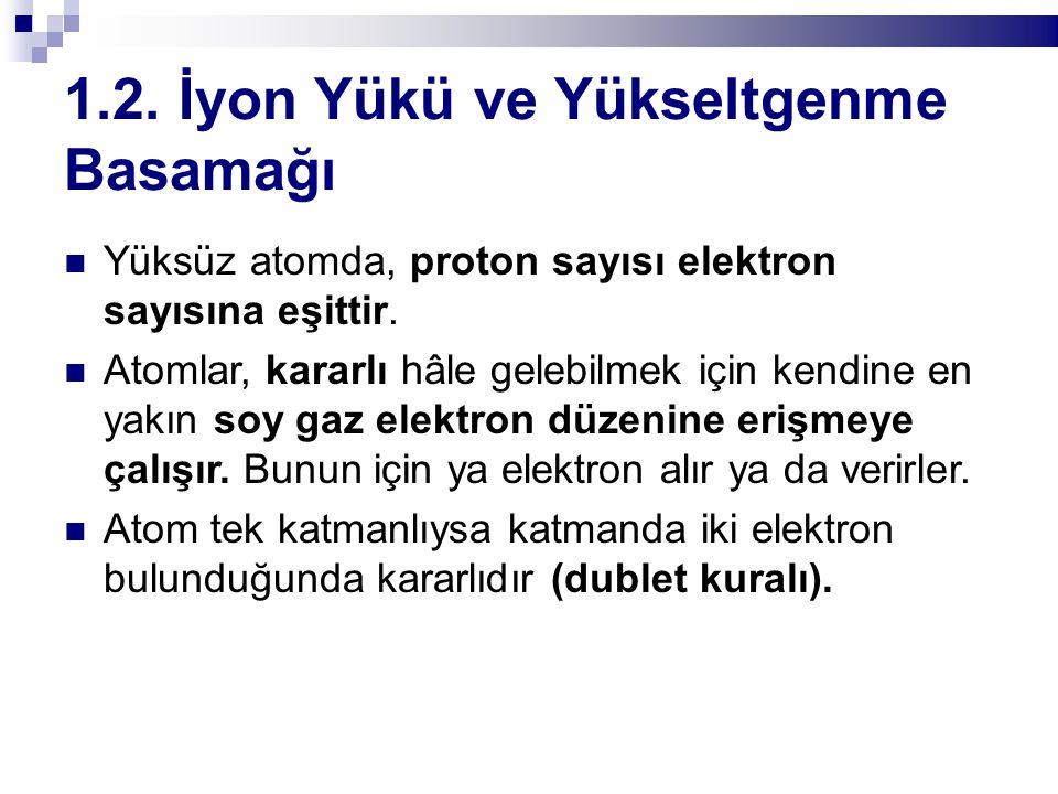 1.2. İyon Yükü ve Yükseltgenme Basamağı Yüksüz atomda, proton sayısı elektron sayısına eşittir. Atomlar, kararlı hâle gelebilmek için kendine en yakın