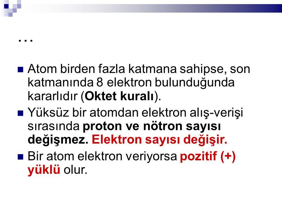 … Atom birden fazla katmana sahipse, son katmanında 8 elektron bulunduğunda kararlıdır (Oktet kuralı). Yüksüz bir atomdan elektron alış-verişi sırasın