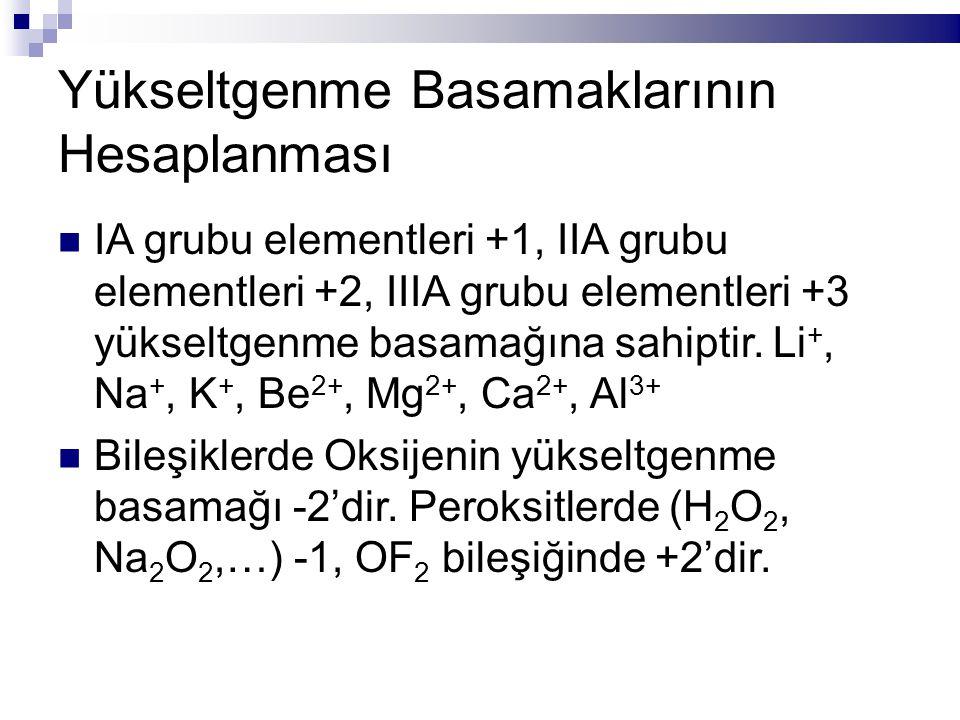 Yükseltgenme Basamaklarının Hesaplanması IA grubu elementleri +1, IIA grubu elementleri +2, IIIA grubu elementleri +3 yükseltgenme basamağına sahiptir