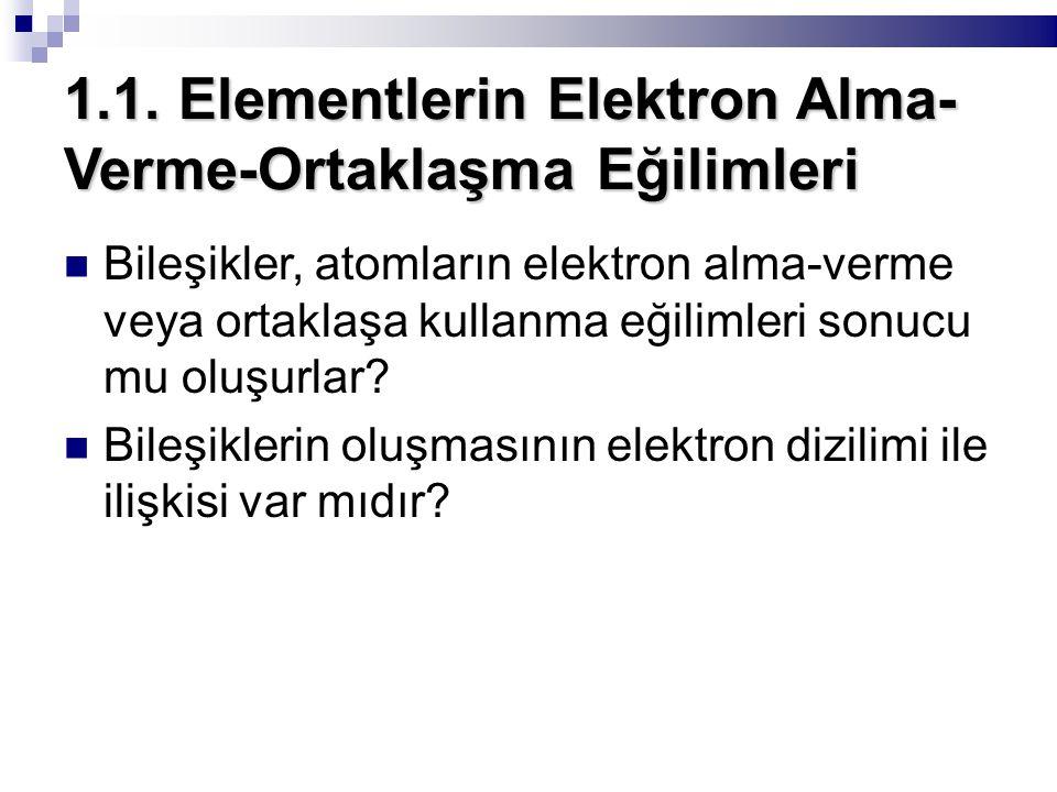 1.1. Elementlerin Elektron Alma- Verme-Ortaklaşma Eğilimleri Bileşikler, atomların elektron alma-verme veya ortaklaşa kullanma eğilimleri sonucu mu ol