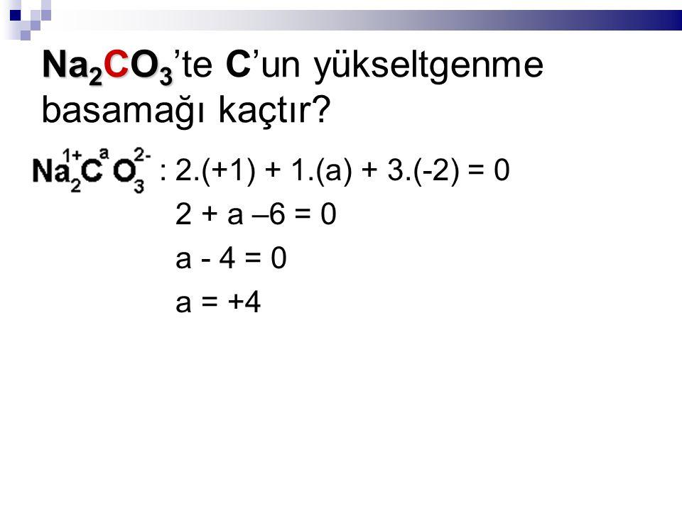 Na 2 CO 3 Na 2 CO 3 'te C'un yükseltgenme basamağı kaçtır? : 2.(+1) + 1.(a) + 3.(-2) = 0 2 + a –6 = 0 a - 4 = 0 a = +4