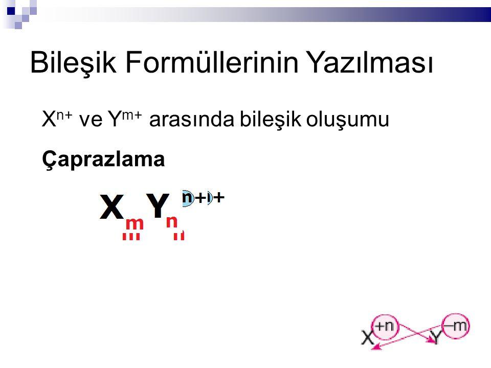 Bileşik Formüllerinin Yazılması X n+ ve Y m+ arasında bileşik oluşumu Çaprazlama
