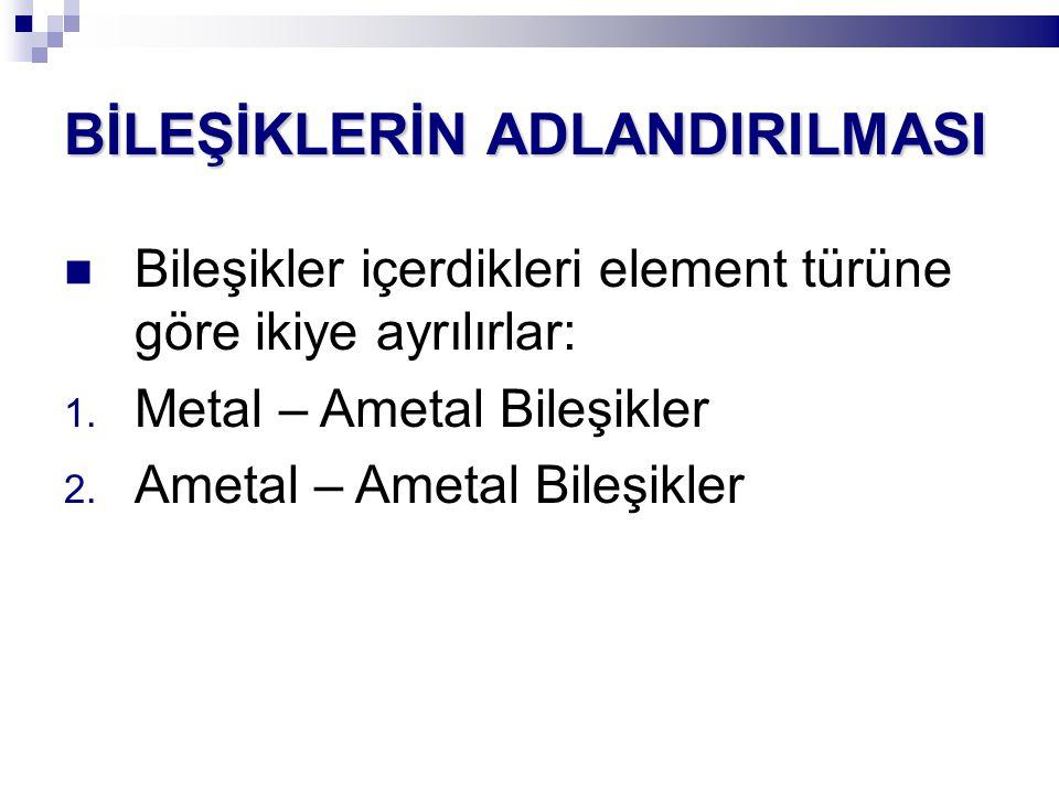 BİLEŞİKLERİN ADLANDIRILMASI Bileşikler içerdikleri element türüne göre ikiye ayrılırlar: 1. Metal – Ametal Bileşikler 2. Ametal – Ametal Bileşikler