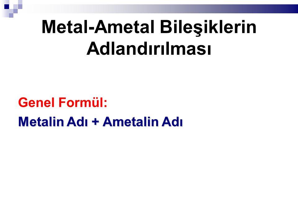Metal-Ametal Bileşiklerin Adlandırılması Genel Formül: Metalin Adı + Ametalin Adı