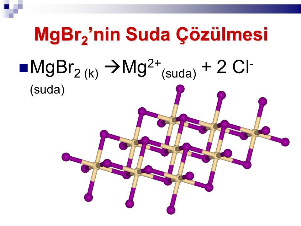 MgBr 2 'nin Suda Çözülmesi MgBr 2 (k)  Mg 2+ (suda) + 2 Cl - (suda)