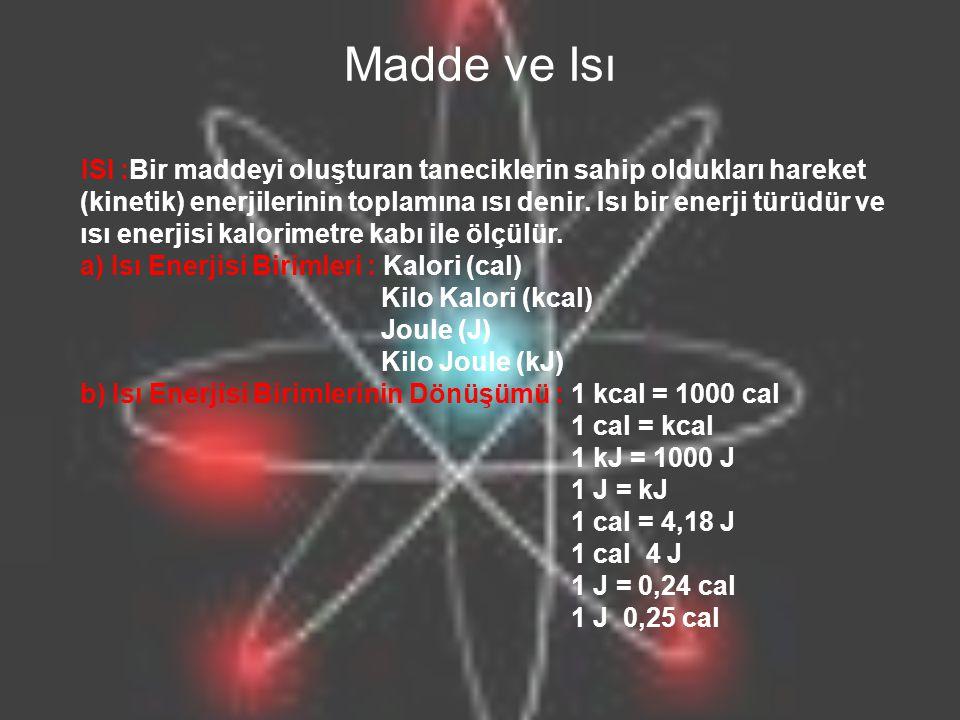 Madde ve Isı ISI :Bir maddeyi oluşturan taneciklerin sahip oldukları hareket (kinetik) enerjilerinin toplamına ısı denir. Isı bir enerji türüdür ve ıs
