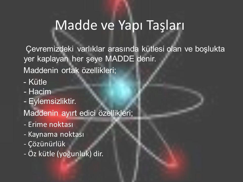 Madde ve Yapı Taşları Çevremizdeki varlıklar arasında kütlesi olan ve boşlukta yer kaplayan her şeye MADDE denir.