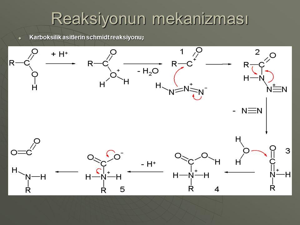 Reaksiyonun mekanizması  Karboksilik asitlerin schmidt reaksiyonu ;