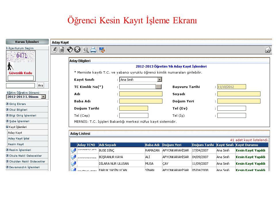 Öğrenci Kesin Kayıt İşleme Ekranı