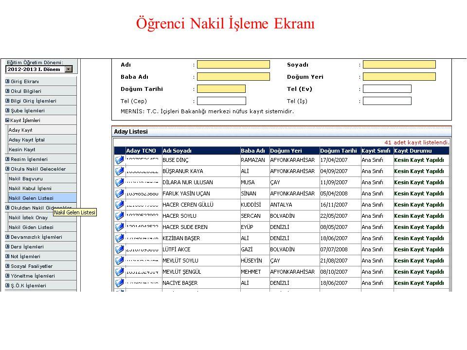 Öğrenci Nakil İşleme Ekranı