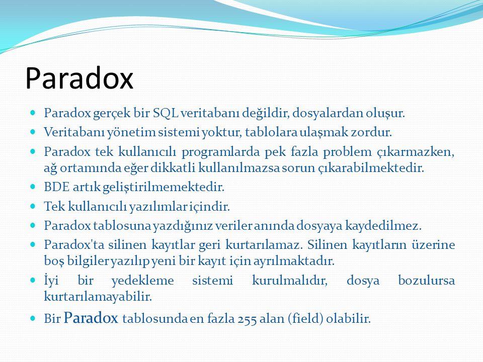 Paradox Paradox gerçek bir SQL veritabanı değildir, dosyalardan oluşur. Veritabanı yönetim sistemi yoktur, tablolara ulaşmak zordur. Paradox tek kulla